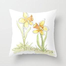Remember - Watercolor Daffodils Throw Pillow