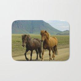 A Pair of Brown Icelandic Ponies Bath Mat