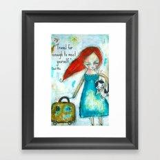 Travel girl quote Framed Art Print