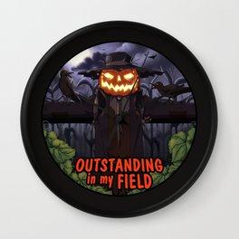 outstanding in my field (night) Wall Clock