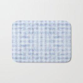 Pale Foam Blue Gingham Faux Suede Design Bath Mat