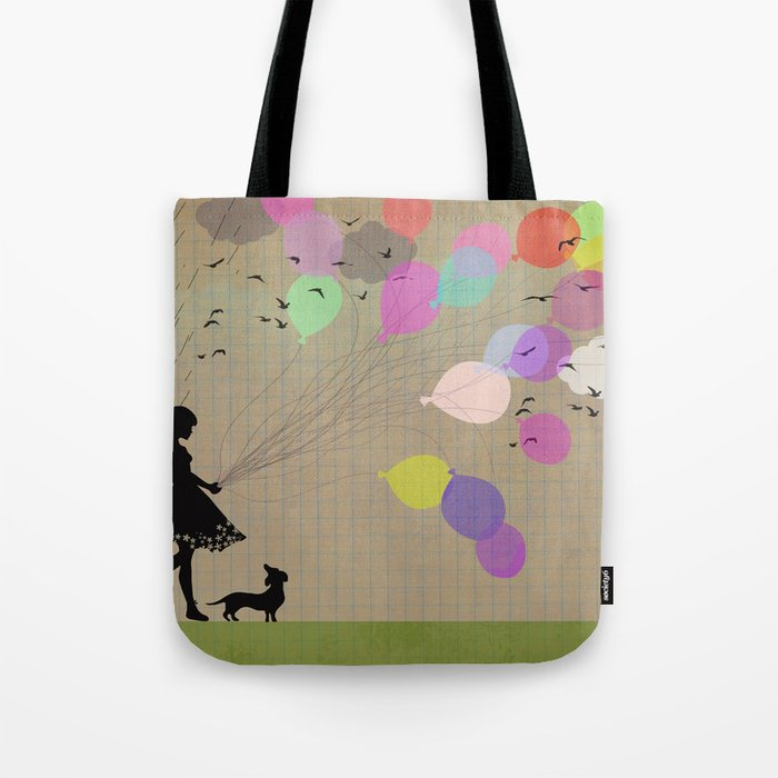 girl with balloons Tote Bag