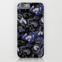 Mount Cook Lily - Blue/Black iPhone Case