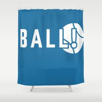 dragon ball Shower Curtains featuring BALL! by TheBluPup