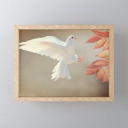Dove Landing Framed Mini Art Print