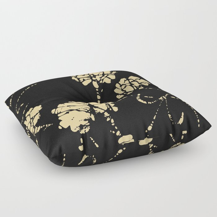 Floral gold and black pattern Floor Pillow