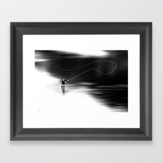 A river runs through it. (dotted) Framed Art Print