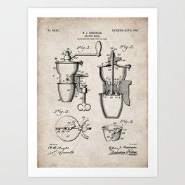 Coffee Mill Patent - Coffee Shop Art - Antique Art Print