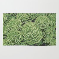 succulents Area & Throw Rugs featuring Succulents by Eclectic at HeART
