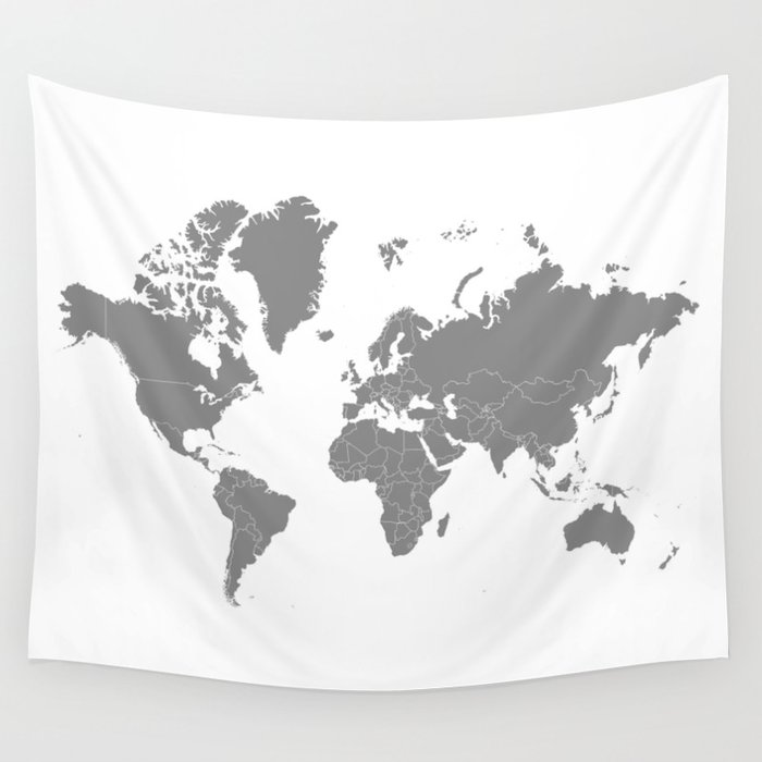 Minimalist world map gray on white background wall tapestry by minimalist world map gray on white background wall tapestry gumiabroncs