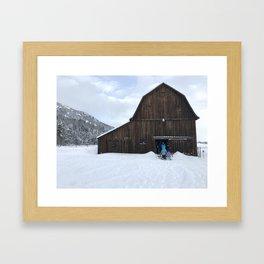 Barn on Christmas Day Framed Art Print
