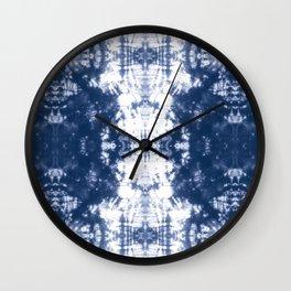 Shibori 6 Indigo Blue Wall Clock