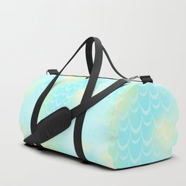 Mint Blue and Yellow Mermaid Tail Abstraction. Magic Fish Scale Pattern Duffle Bag
