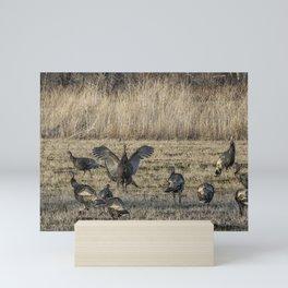 Flock of Wild Turkeys Mini Art Print