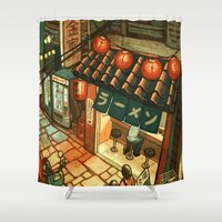 ramen Shower Curtains featuring Ramen in the Alley by Kerri Aitken