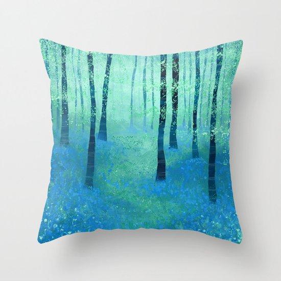 Bluebells, Challock Throw Pillow