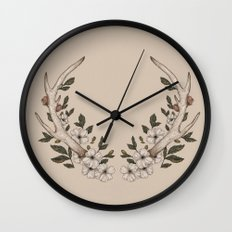 Floral Antler Wall Clock