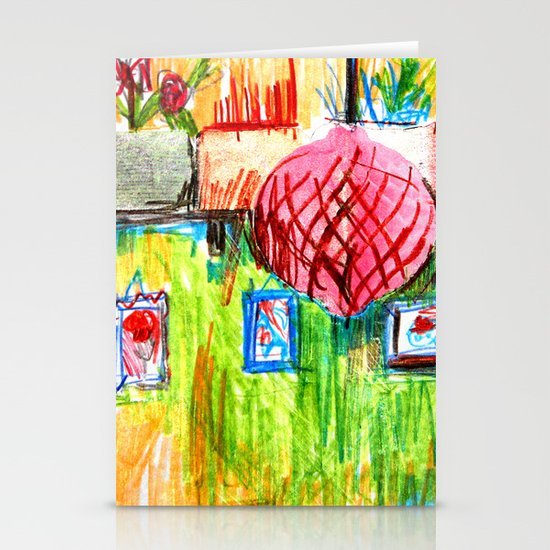 red lamp and shelf Stationery Cards