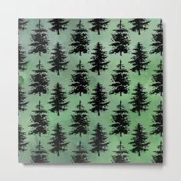 Hand painted watercolor green black winter pine trees Metal Print