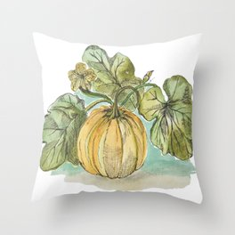 Antique Botanical Sketch Pumpkin Throw Pillow