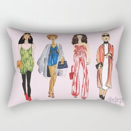 Fashion Drawing Series Pouch, Pinales Illustrated Rectangular Pillow