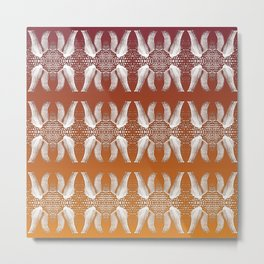 Homey pattern of feet in knitted socks Metal Print