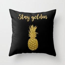 Stay Golden Precious Tropical Pineapple Throw Pillow