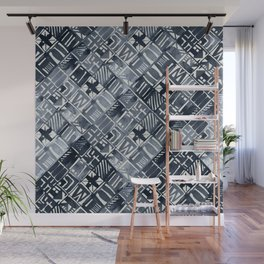 Simply Tribal Tiles in Indigo Blue on Lunar Gray Wall Mural