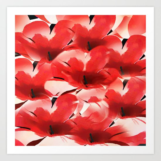 Red Poppies - Painterly Art Print