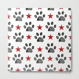 Doodle paw print and red shining star Metal Print