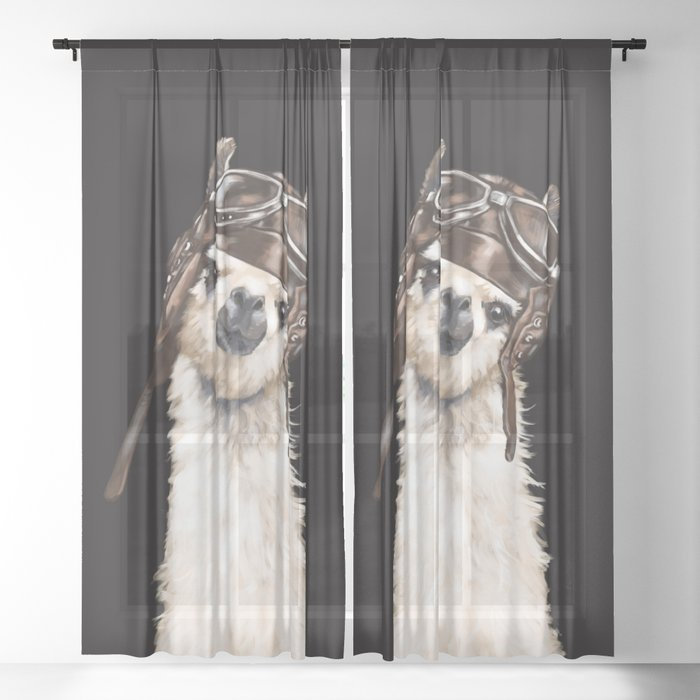 Cool Pilot Llama in Black Sheer Curtain