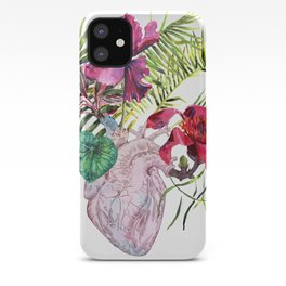 Human heart with flowers, plant and leaf, watercolor iPhone Case