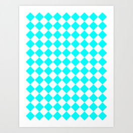 Diamonds - White and Aqua Cyan Art Print