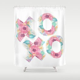 XOXO Floral Watercolor Typography Shower Curtain