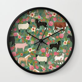 Farm gifts chickens cattle pigs cows sheep pony horses farmer homesteader Wall Clock