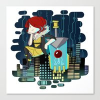 transistor Canvas Prints featuring Transistor Welcome to Cloudbank by Cycha
