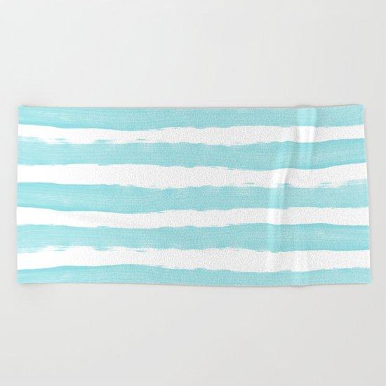 Aqua Blue- White- Stripe - Stripes - Marine - Maritime - Navy - Sea - Beach - Summer - Sailor 2 Beach Towel