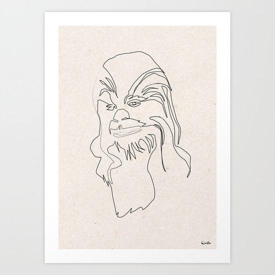 One Line Chewbacca Art Print