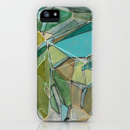 Fracturing Emeralds iPhone Case