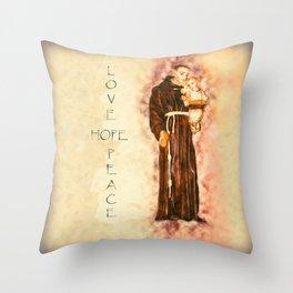 St. Francis Peace, Hope, Love Throw Pillow