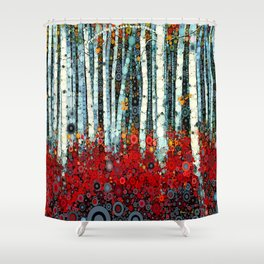 red and turquoise shower curtain. Begonia Birch  Shower Curtain Curtains Society6