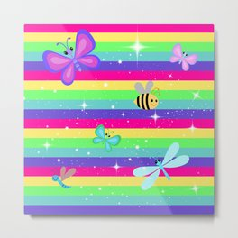 Butterflies & Rainbow Stripes Metal Print