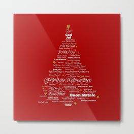 christmas wishes tree intenational languages Metal Print