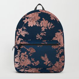 Navy blue faux rose gold watercolor floral Backpack
