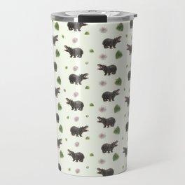 Hippos and Flowers Travel Mug
