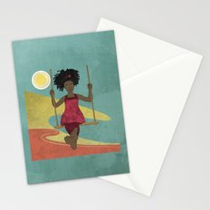 Barefoot Girl on Swing Stationery Cards