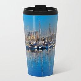Boats in the Harbor: Barcelona, Spain Travel Mug