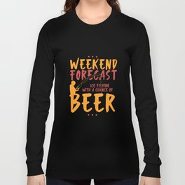 Angling T-Shirt: Ice Fishing With Beer I River I Ice Hole Long Sleeve T-shirt