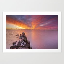 Sunrise over sea on the island of Texel, The Netherlands Art Print