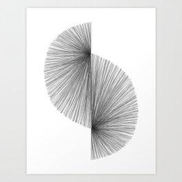 Mid Century Modern Geometric Abstract S Shape Line Drawing Pattern Art Print